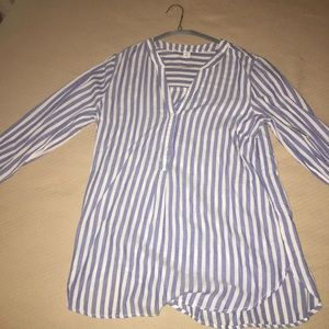 Old Navy Blue and White Striped Collarless Blouse